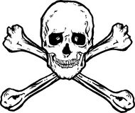 Schädel und gekreuzte Knochen Stockfotografie
