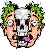 Schädel und menschliches Gesicht Lizenzfreies Stockfoto