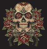 Schädel und Rosen mit Revolver-Tätowierungs-Illustration lizenzfreie abbildung