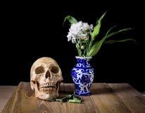 Schädel und weiße Blume im blauen Vasenstillleben auf hölzernem Brett Lizenzfreie Stockfotos