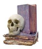 Schädel und zwei alte Bücher lokalisiert auf Weiß Stockfotos