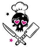 Schädelmädel mit dem Kochen des Hutes lizenzfreies stockfoto