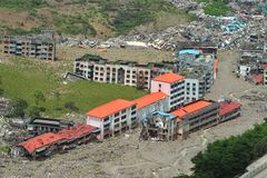 Schädigende Stadt nach dem Erdbeben in Sichuan, Kinn Stockfoto