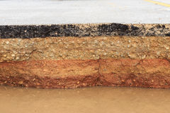 Schädigender Asphalt Schicht Lehm, das abgefressen wurden stockfoto