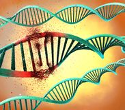 Schädigender blauer Ribonuclein- Säure- oder DNA-Strang Lizenzfreie Stockbilder