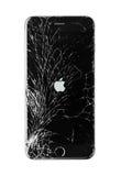 Schädigendes iphone auf weißem Hintergrund Stockfoto