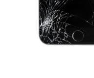 Schädigendes iphone auf weißem Hintergrund Lizenzfreie Stockfotografie