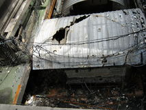 Schädigendes System in den roten Hemden Bangkok randaliert 2010 Lizenzfreie Stockfotos