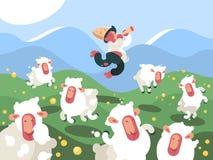Schäfer lässt Herde von Schafen weiden vektor abbildung