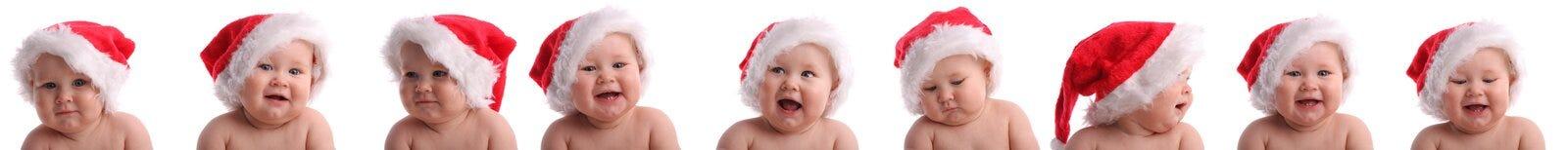 Schätzchen in einem Weihnachtshut. Collage Stockfotografie