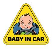 Schätzchen im Auto Hinteres Abziehbild oder Zeichen Lizenzfreies Stockfoto