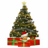 Schätzchen-Karikatur auf Weihnachten Stockfotografie
