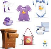 Schätzchen-Kleidungs-Ikonen-Set stock abbildung
