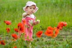 Schätzchen-Mädchen mit Mohnblumen lizenzfreies stockbild