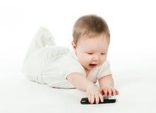 Schätzchen mit Handy Lizenzfreies Stockbild