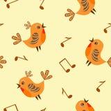 Schätzchen nahtlos. Vögel und Anmerkung. Lizenzfreies Stockfoto