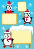 Schätzchen-Pinguin und -anschlagtafel. Auslegungelement. Stockfotografie