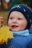 Schätzchen und Herbstblatt Stockfoto