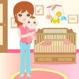 Schätzchen und Mamma im Schlafzimmer Stockfotos