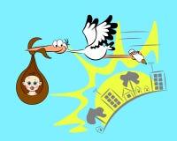 Schätzchen und Storch Lizenzfreies Stockfoto
