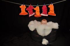 Schätzchen-waschende Tuch-Windel-Wäscherei Lizenzfreie Stockfotos