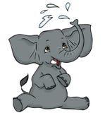 Schätzchenelefant, der Wasser spritzt Stockbild