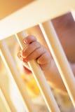 Schätzchenfinger auf Krippe Lizenzfreies Stockfoto