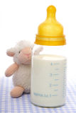 Schätzchenflasche mit Milch stockfoto