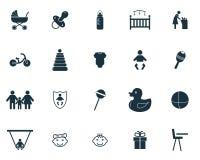 Schätzchenikonen eingestellt Erstklassige Qualitäts-Symbol-Sammlung Gesetzte einfache Elemente der Babyikone vektor abbildung