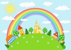 Schätzchenlandschaft. Regenbogen. Stockfotos