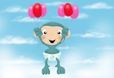 Schätzchenschimpanse mit Ballonen Lizenzfreie Stockfotografie