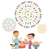 Schätzen Sie Feuerwerke im Elternteil und im Kind Stockfotografie
