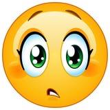 Schätzen Sie Interessenfrau Emoticon gering Stockfoto