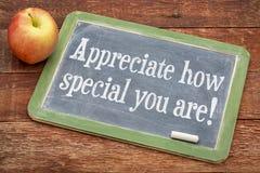 Schätzen Sie, wie Special Sie sind! Lizenzfreie Stockfotografie