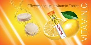Schäumender Multivitamin tablets Anzeigen Vektor-Illustration mit Vitamin- Cbehälter und -zitrone vektor abbildung