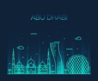 Schéma à la mode vecteur d'horizon d'Abu Dhabi City Image stock