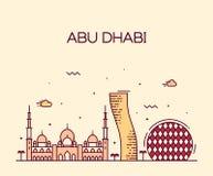 Schéma à la mode vecteur d'horizon d'Abu Dhabi City Image libre de droits