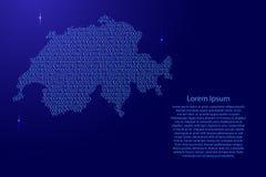 Schéma d'abrégé sur carte de la Suisse de bleu bina de ceux et de zéros illustration libre de droits
