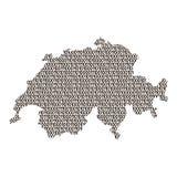 Schéma d'abrégé sur carte de la Suisse de noir ceux et poubelle de zéros illustration stock