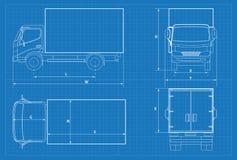 Schéma de camion de livraison ou modèle de VAN car Illustration de vecteur Voiture de camion dans le contour Calibre de véhicule  Images stock