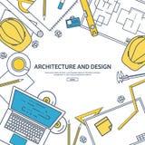 Schéma Illustration de vecteur Ingénierie et architecture Dessin, construction Projet architectural Conception Images stock