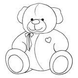 Schéma monochrome beau jouet de Teddy Bear de bande dessinée d'isolement Photographie stock libre de droits