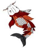 Schéma tiré par la main de carpe de Koi de poissons Photo libre de droits
