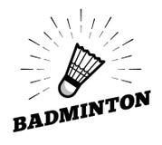 Schéma tiré par la main vintage d'impression de burtst du soleil d'icône de logo de boule de coq de navette de sport de badminton illustration de vecteur
