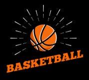 Schéma tiré par la main vintage d'impression de burtst du soleil d'icône de logo de boule de sport de basket-ball de vecteur illustration libre de droits