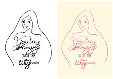 Schéma visage de femme de sourire à la main dessiné avec la conception de calligraphie de mot car vous êtes étonnant juste la man Photographie stock