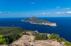 Schön auf Sa Dragonera von den Bergen von Tramuntana, Mallorca, Spanien stockfotografie