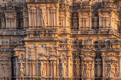 Schön geschnitzte Tempelwand in Indien Lizenzfreie Stockfotografie