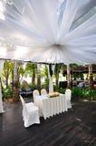 Schön verzierter Pavillion für Hochzeit Lizenzfreies Stockfoto