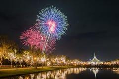 Schön von den Feuerwerken in Thailand Stockfotografie